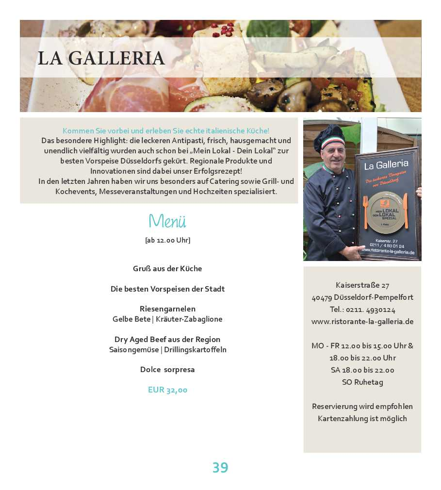 La Galleria – tour de menu