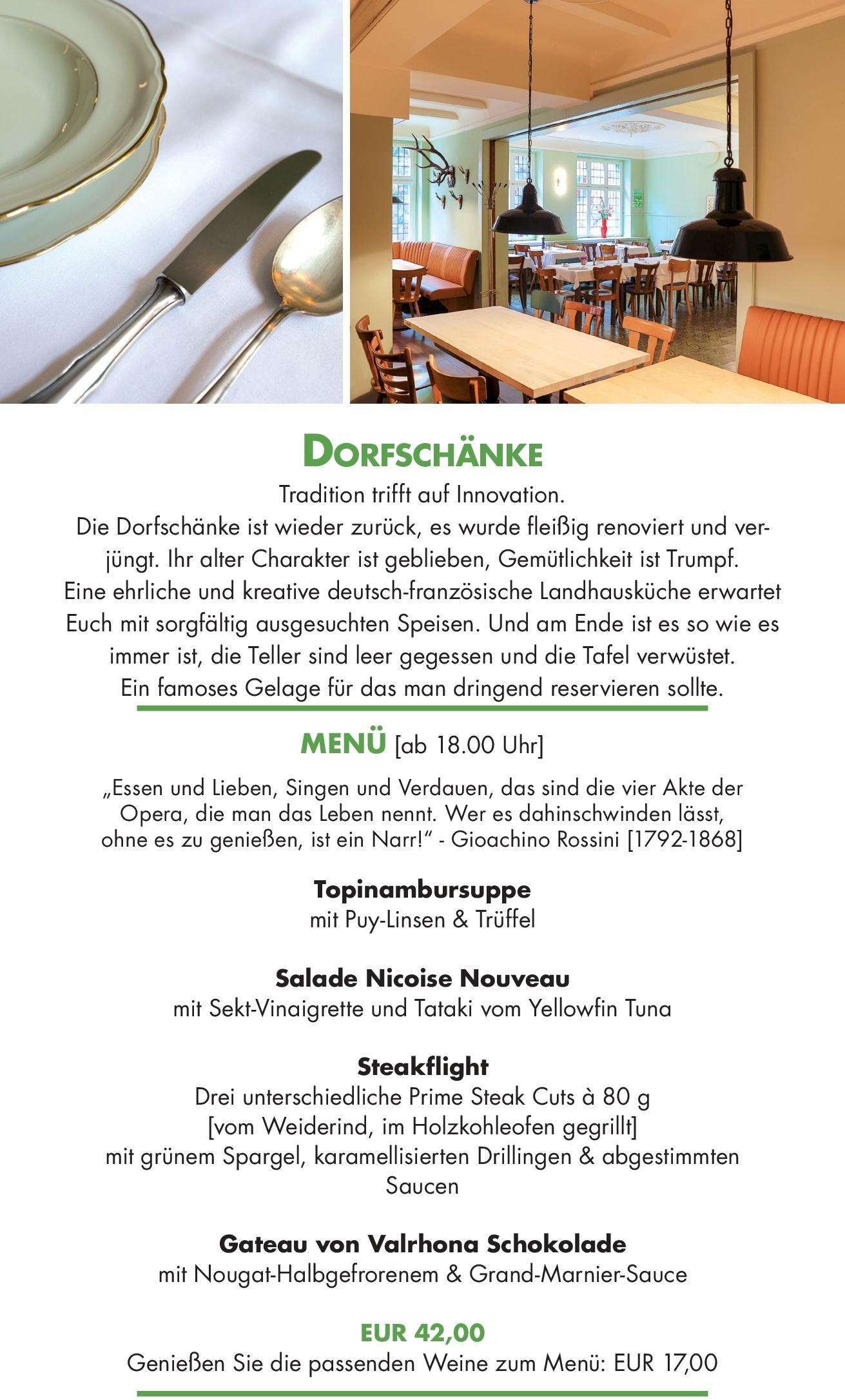 Dorfschänke – tour de menu